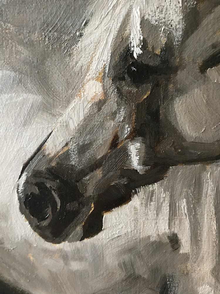 Original painting of Horse by artist April Moffatt close up of horse face