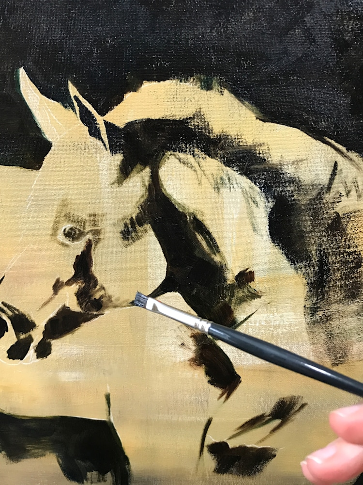 Progress of Original painting of Horse by artist April Moffatt in a contemporary impressionistic style on canvas