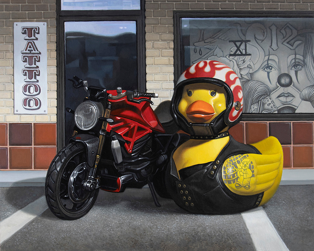 Kevin Grass Biker Chick Acrylic on aluminum panel painting