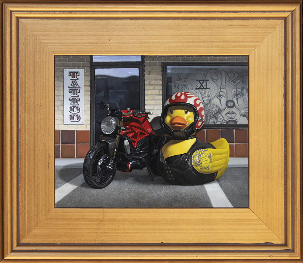 Kevin Grass Biker Chick Gold Frame Acrylic on aluminum panel painting