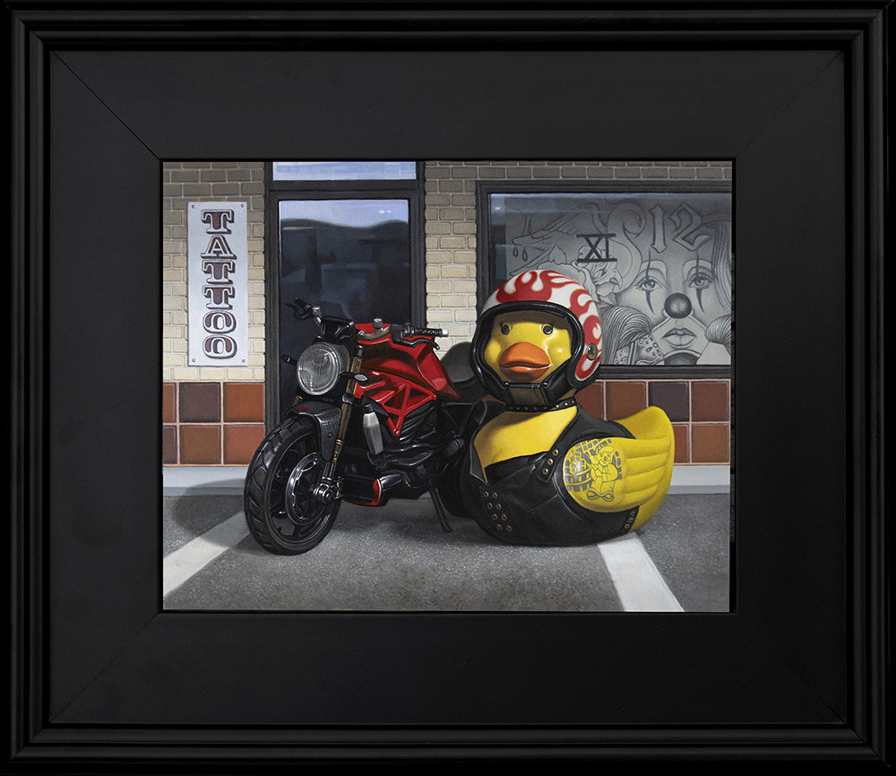 Kevin Grass Biker Chick Black Frame Acrylic on aluminum panel painting