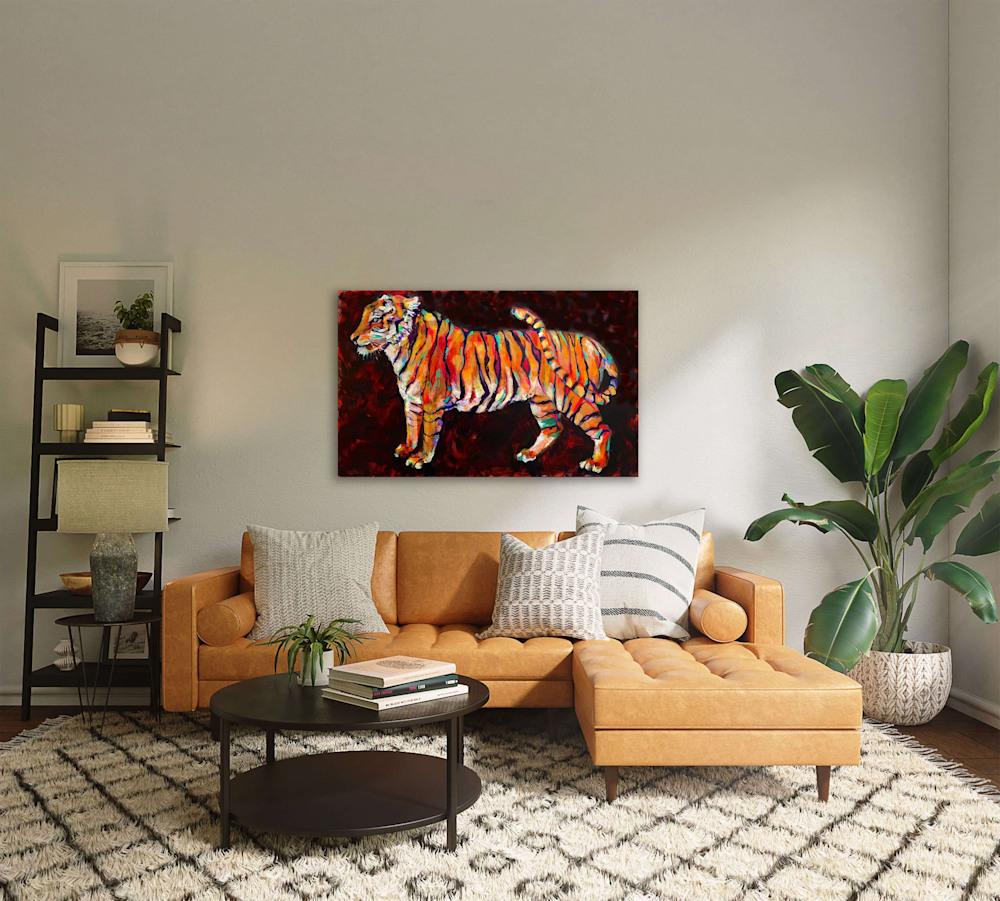 tiger over orange