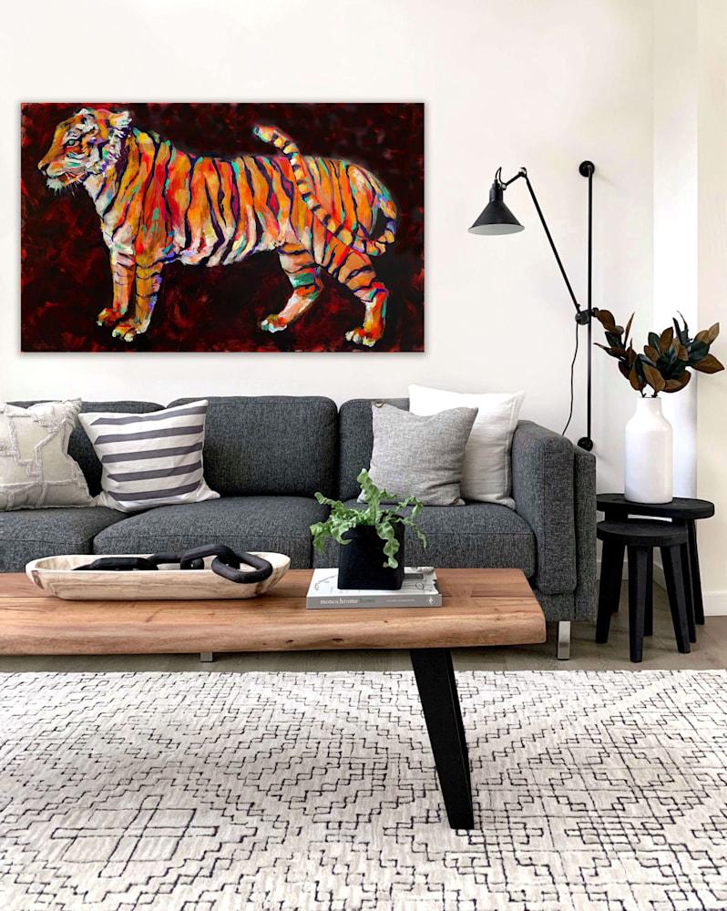 tiger wall over sofa