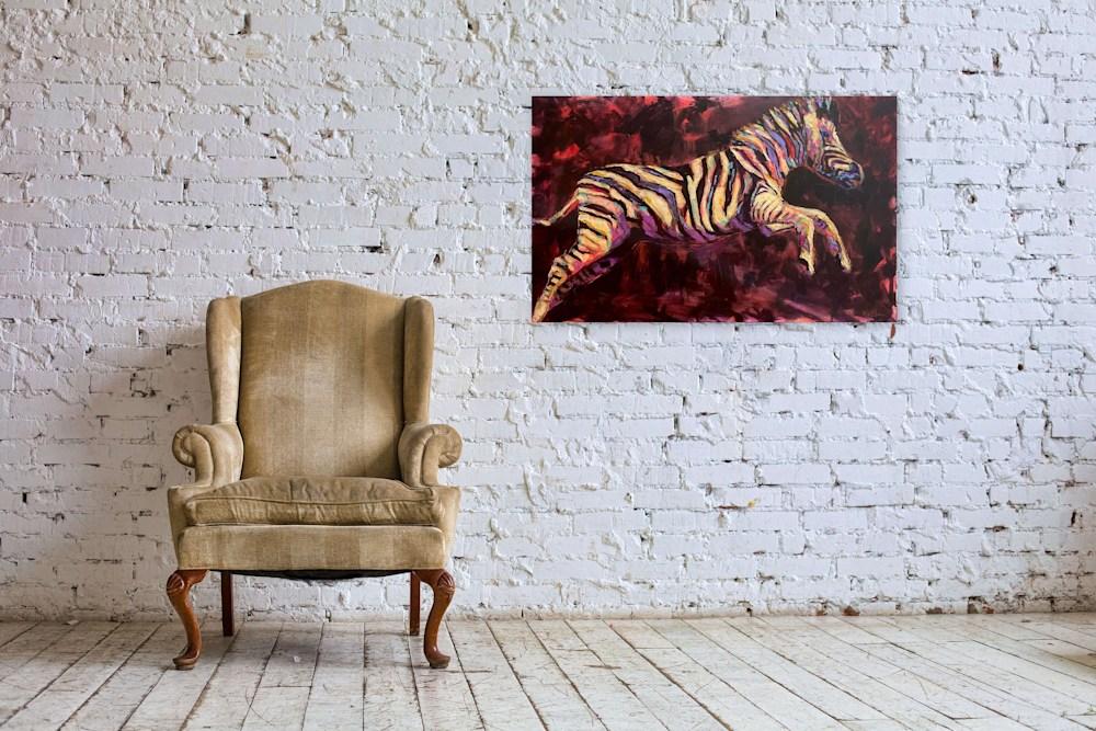 zebra brick wall chair