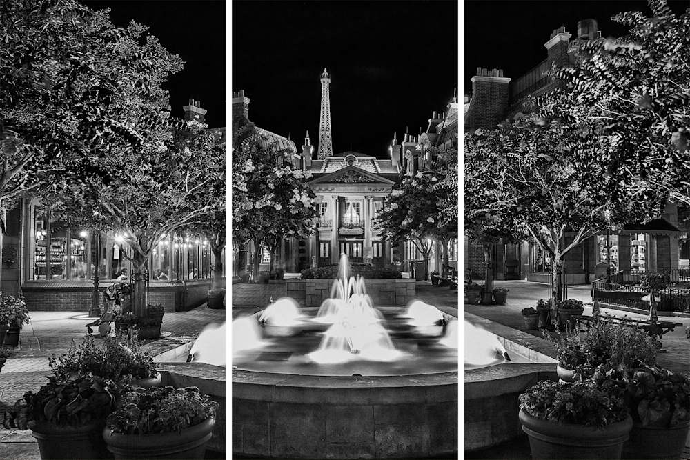 France Fountain in Black and White
