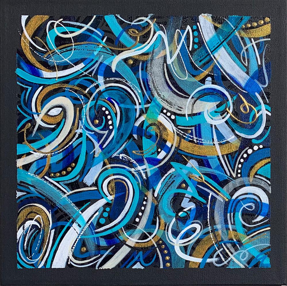 12x12 zabe arts blue swirl abstract painting