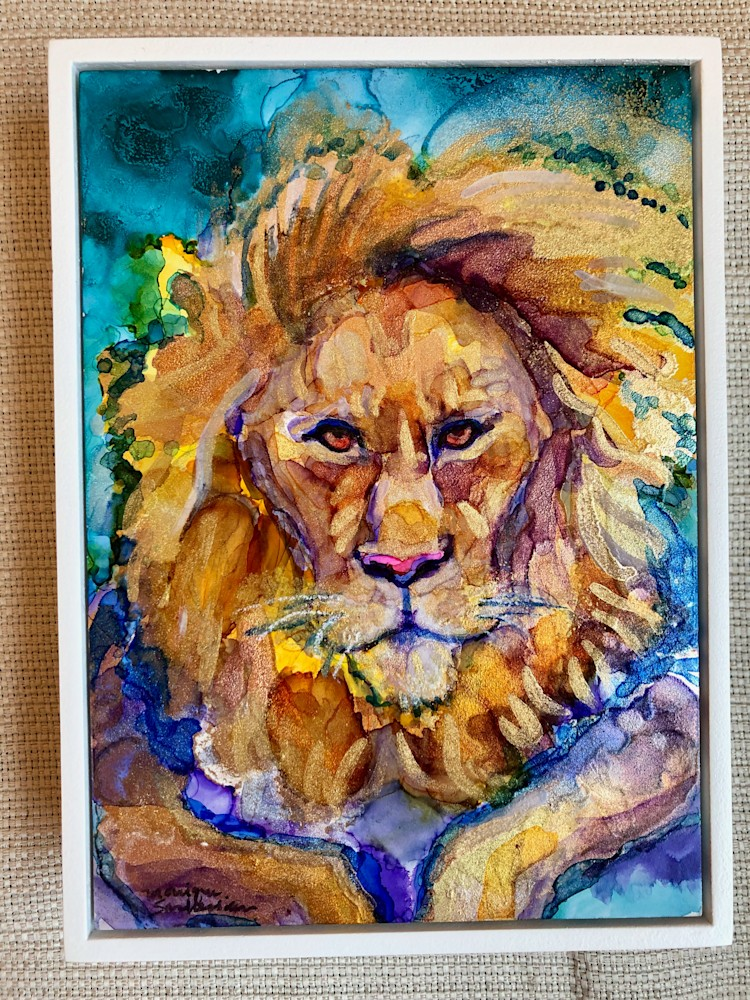 Ready To Roar 19 Golden Lion back, alcohol Ink on wood, 7x5 copy