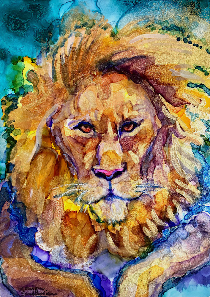 Ready To Roar 19 Golden Lion, alcohol Ink on wood, 7x5