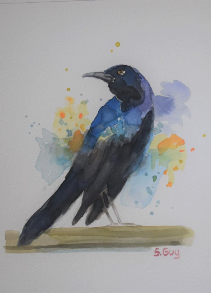 Dazzling grackle bird painting
