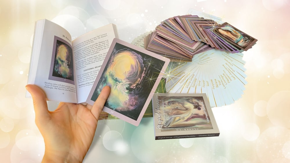 Open book with cards