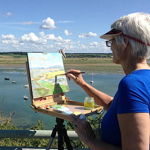 Dorothy Fagan painting en plein air in France