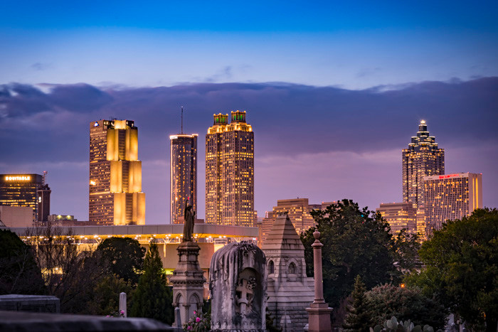 Another shot of the City of Atlanta at Golden Hour taken from Oakland Cemetery