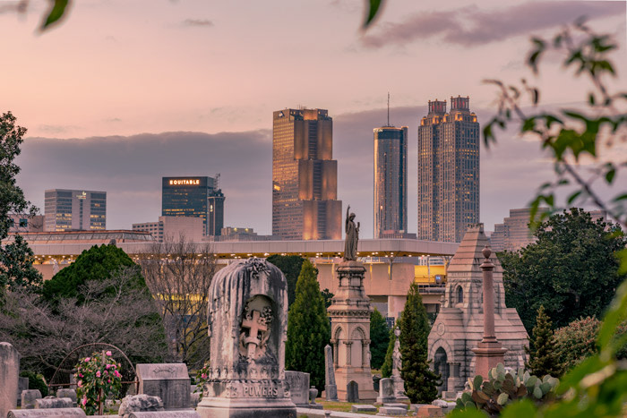 Before Golden Hour at Oakland Cemetery with the city in the background