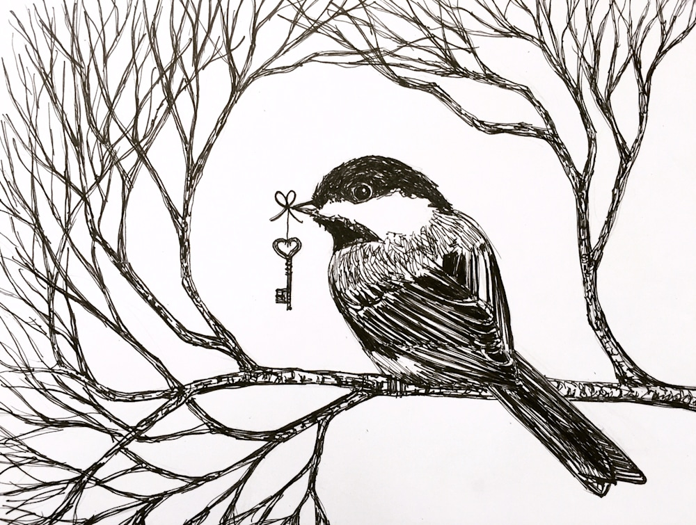 Chickadee and Key Illustration by Becky MacPherson