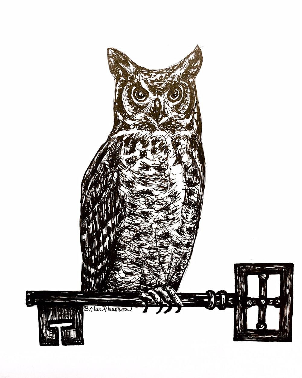 Great Horned Owl with Antique Key Illustration by Becky MacPherson
