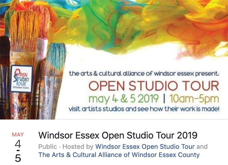 Open Studio Tour in May 2019 in Windsor ontario