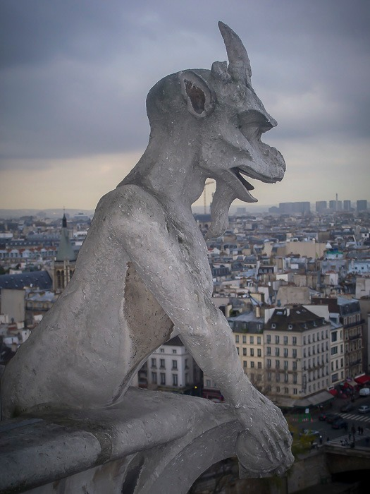 A gargoyle on the roof of the Cathedrale Notre Dame de Paris