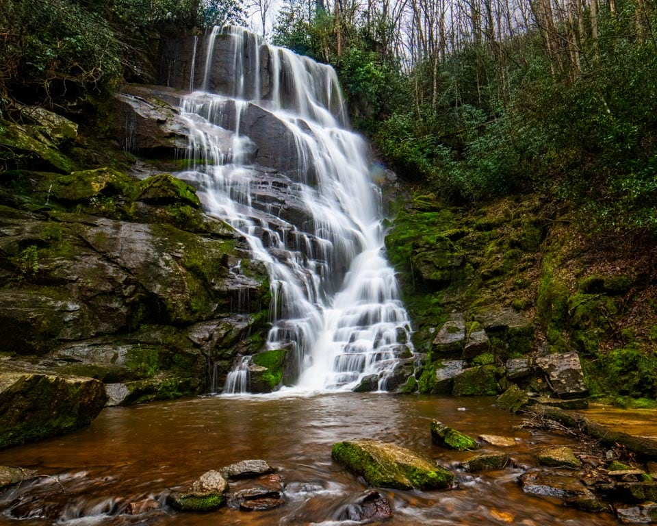 Estatoe Falls is a little-known gem of a waterfall in North Carolina's Smoky Mountains.