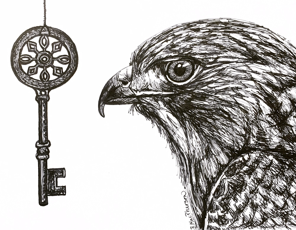 Hawk and Antique Key Illustration by Becky MacPherson