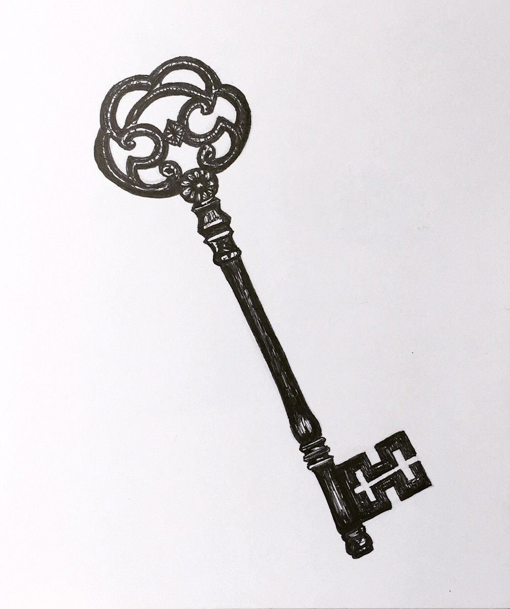 Antique Key Illustration by artist Becky MacPherson
