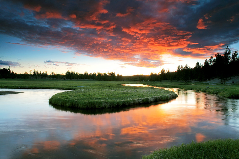 Gibbon River at sunset in Yellowstone National Park