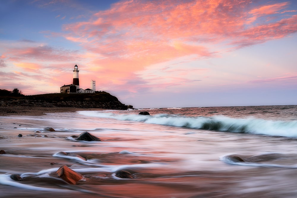 Montauk Lighthouse at sunset in Long Island New York