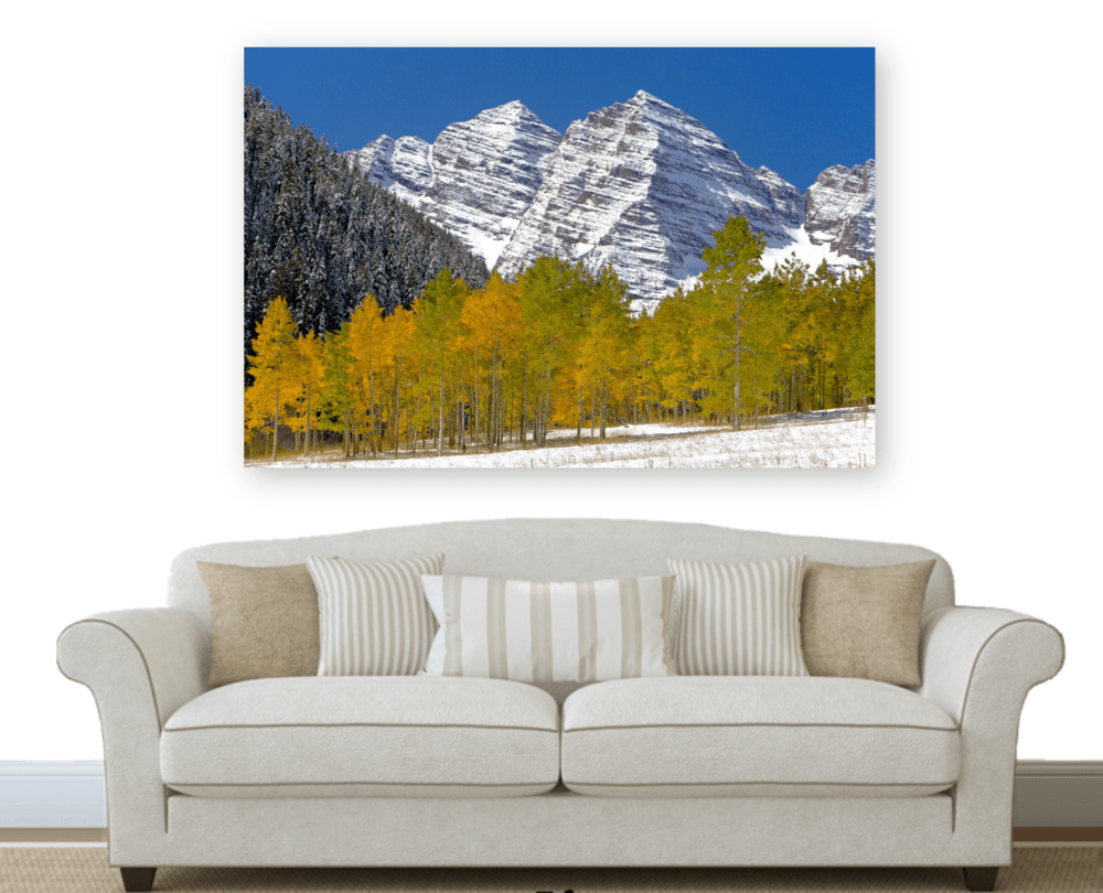 Acrylic print of the Maroon Bells fall foliage in Aspen, Colorado | Robbie George Photography