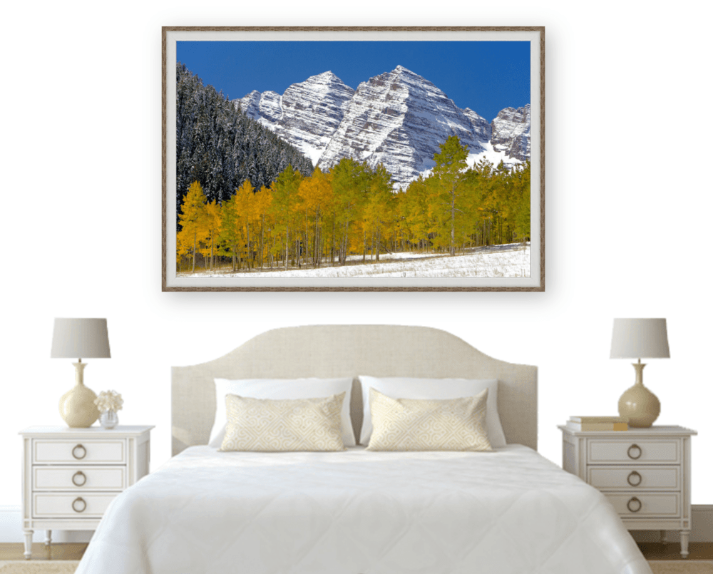 Metal Print With Wood Frame of the Maroon Bells Fall Foliage | Robbie George Photography