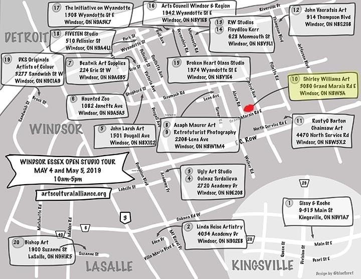 2019 Open Studio Tour map for Windsor Essex