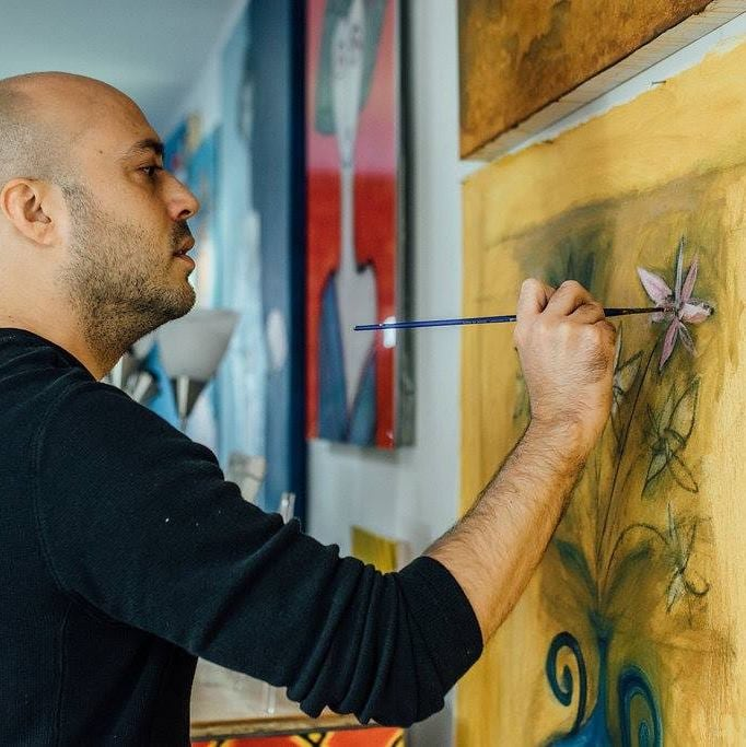 Paul Zepeda in the NYC Art Studio