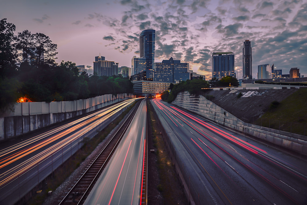 A photo of the moving MARTA train in Atlanta as shot from a pedestrian bridge