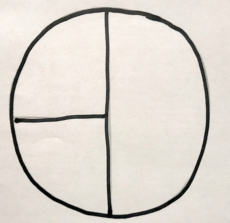 circle in thirds by half