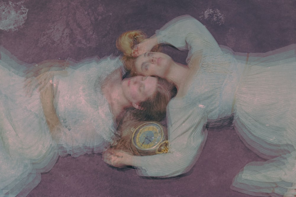 Two women and a timepiece - a composite fine-art photo