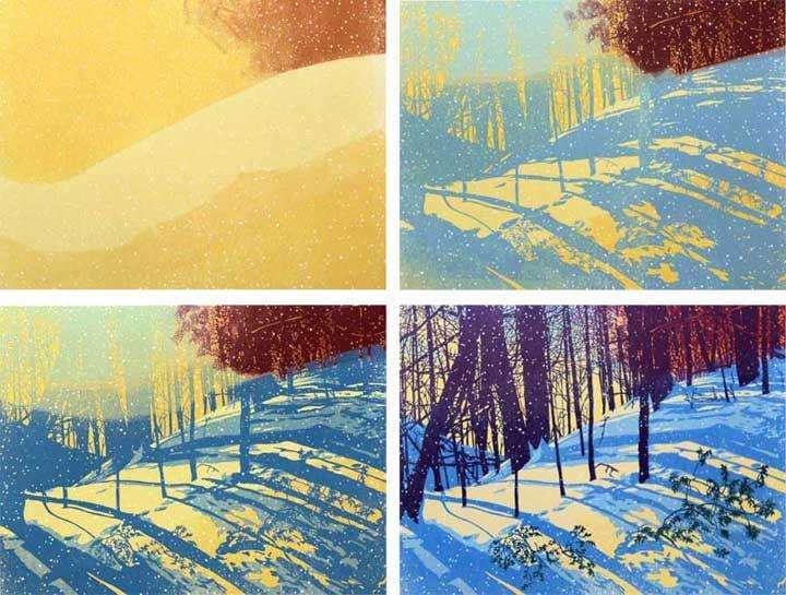 Linocut print Sunshine Snowfall, impressions 1-4