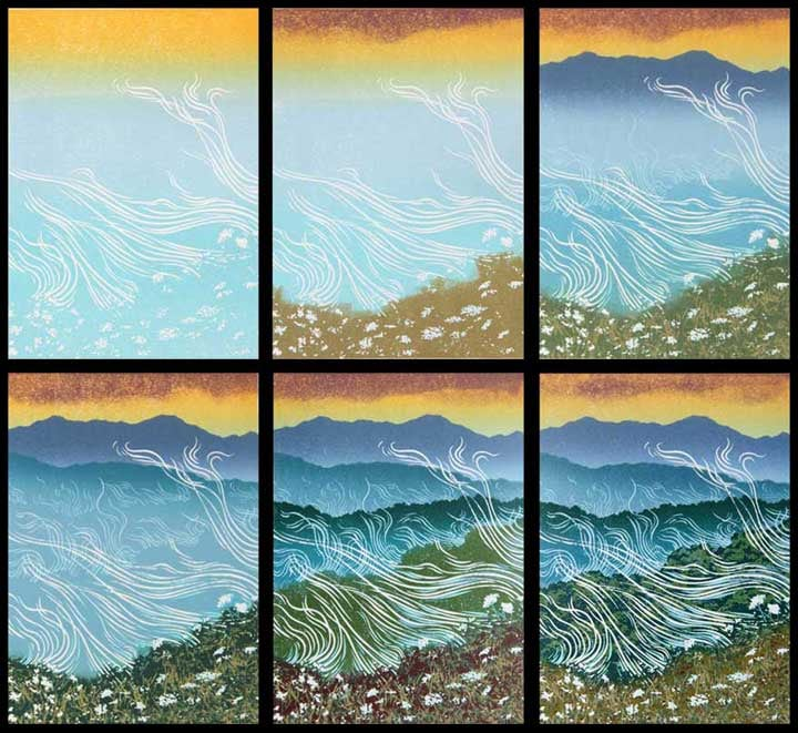 Blue Mountains, impressions 1-6, linocut print by William H. Hays