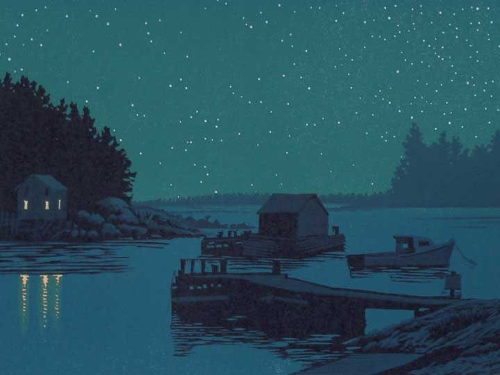 Coastline Nocturne, detail, linocut print by William H. Hays