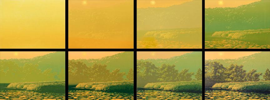 Waters Edge, impressions 1-8, linocut print by William H. Hays