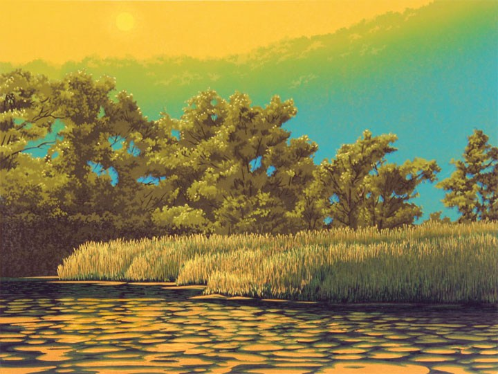 Waters Edge, linocut print by William H. Hays