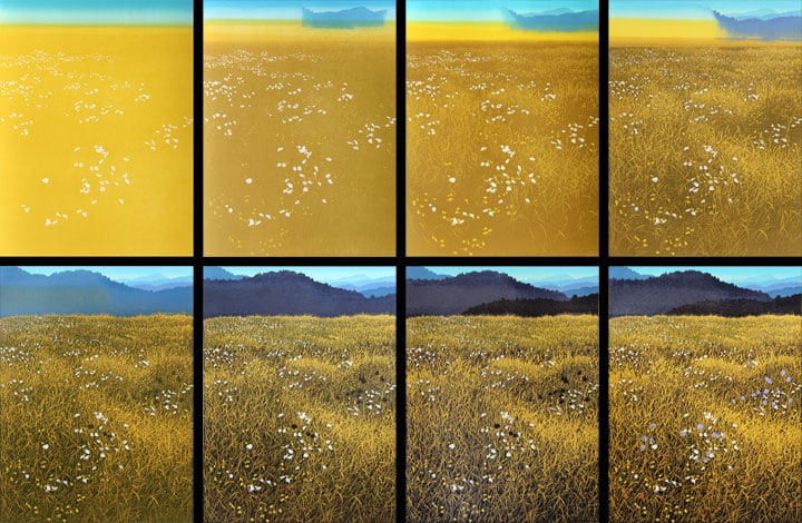 Autumn Field, impressions 1-8, linocut print by William H. Hays