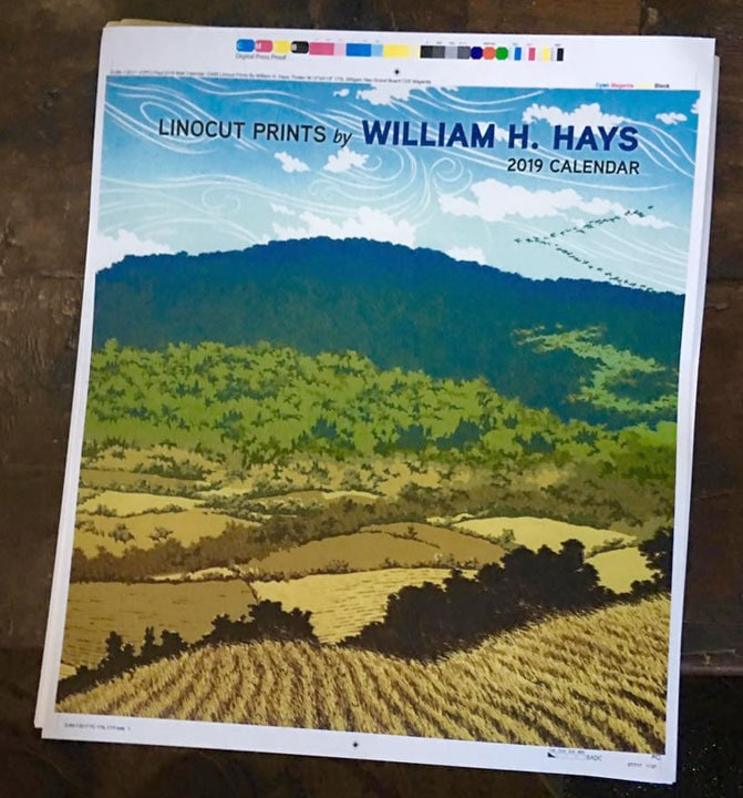 Calendar of linocut prints by William H. Hays