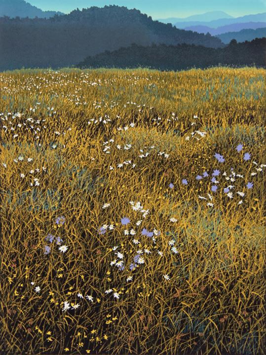 Autumn Field, linocut print by William H. Hays
