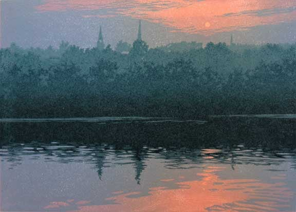 Sultry Evening, linocut print by William H. Hays