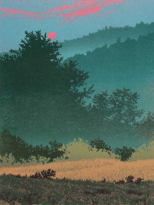 Kissed By The Sun, linocut print by William H. Hays