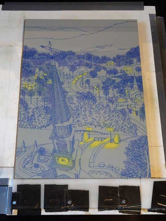 Night Flight, linoleum block on press