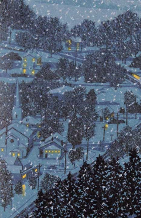 Night Flight, detail 2, linocut print by William H. Hays