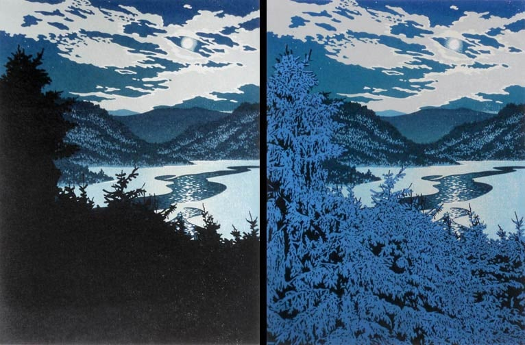Moonlight Lead impressions 5 and 6, linocut print by William H. Hays