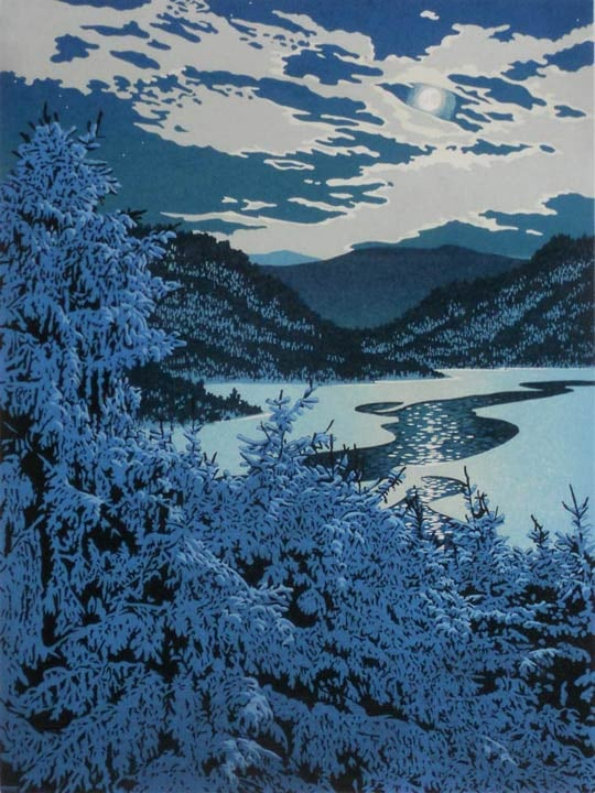 Moonlight Lead, linocut print by William H. Hays