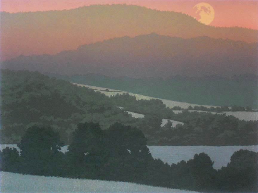 Summer Moon, linocut print by William H. Hays