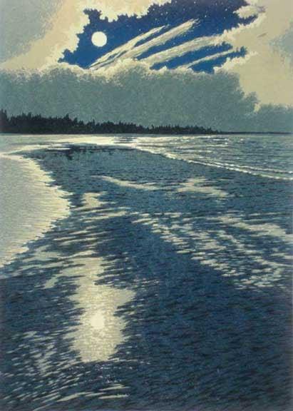 Moonlight Coast, linocut print by William H. Hays