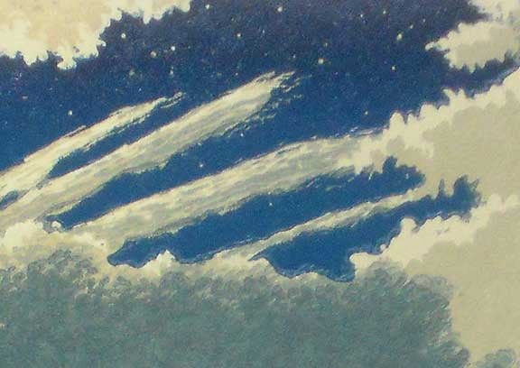 Moonlight Coast (detail) linocut print by William H. Hays